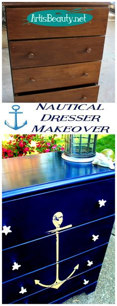ART IS BEAUTY: Vintage ANCHOR Nautical COASTAL dresser MAKEOVER
