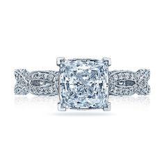 Brides.com: Engagement Rings Under $10,000. Style HT2528 PR 5.5, princess-cut center diamond engagement ring in platinum, $9,222, Tacori  See more princess-cut engagement rings.