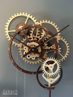 Zybach: a mechanical clock Wooden Gear Clock, Wooden Gears, Arte Steampunk, Steampunk Clock, Mechanical Clock, Cool Clocks, Wall Clock Design, Grandfather Clock, Grandfather Tattoo