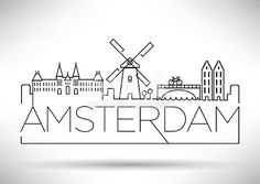 Amsterdam City Line Silhouette typografische Gestaltung – City Art Drawing Lessons, Doodle Art, Minimalist Bullet Journal, City Drawing, City Sketch, Amsterdam City, Poster Design, Typographic Design