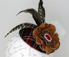 English Tweed Hat in Red, Black, Blue and Goldenrod with Pheasant Feathers, Tan Leather Rose, Vintage Garnet Crystal & Tulle Veiling