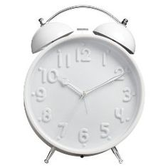 Small double bell alarm clock. Monochromatic at its finest.