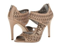 Beige Heels with Cut-Out Design
