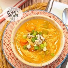 SKINNY Buffalo Chicken Soup! It's thickened with CAULIFLOWER! The most delicious healthy soup you will ever taste! Made in 30 min! - The Cookie Rookie