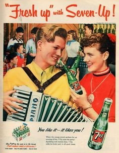 advertising, classic posters, food, free download, graphic design, movies, retro prints, theater, vintage, vintage posters, Fresh Up with Seven Up! - Vintage 7-Up Soda Advertising Poster