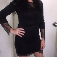 Little Black Dress NWT Lace Dress. Never worn, only to model.zips on the side. Charlotte Russe Dresses