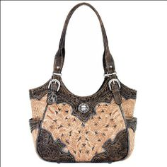 American West Leather 3 Comp Scoop Top Tote Womens Shoulder Handbag Purse Concho #WomenGymBags