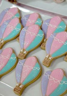 Small World birthday party hot air balloon cookies!  See more party planning ideas at CatchMyParty.com!