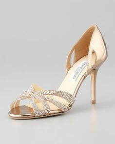 2nd Floor / One Pair, On Floor, Next To The Castalia Chair /  In The Cherise Walk In Closet / Bauble Crystal-Embellished Metallic Sandal by Jimmy Choo at Neiman Marcus.