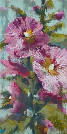 """Happiness is a Hollyhock'  6x12Original Pastel Painting  by Karen Margulis Fine Art on Etsy"