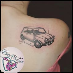 Kerry's tribute to her Grandad who loved his little Mini. Classic Mini, Black And Grey Tattoos, Love Him, Tattoo Artists, February, Charlotte, Inspirational, Inspired, Birthday