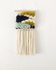 Mini Navy, Mint and Chartreuse — sunwoven Tapestry Weaving, Loom Weaving, Hand Weaving, Weaving Projects, Macrame Projects, Crafts To Make, Arts And Crafts, Weaving Wall Hanging, Fabric Crafts