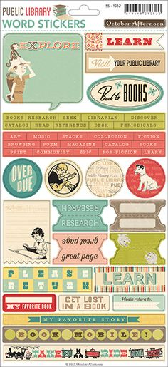 October Afternoon Public Library Word Stickers (A) Printable Planner, Planner Stickers, Free Printables, October Afternoon, Library Themes, Images And Words, Book Images, Planner Supplies, Art Supplies