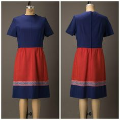 1960s handmade blue and salmon thick linen color block day dress. Features short sleeves, belt loops, and back metal zipper. The dress is not lined and it appears to be handmade.
