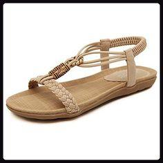 Damen Böhmen Strand Schuhe Peep-Toe Flache Sommer Sandalen,Aprikosen(EU 34--EU 41) - Sandalen für frauen (*Partner-Link)