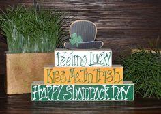 St. Patrick's Day Decor Leprechaun Block Set St. by BlocksOfLove1, $14.99