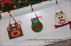Christmas In-the-Hoop Treat Bags Set - 3 Designs! | Christmas | Machine Embroidery Designs | SWAKembroidery.com