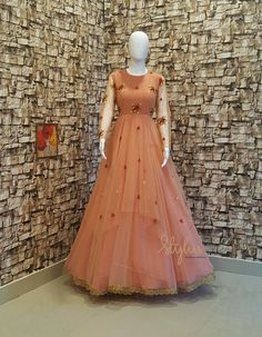 Make it classy and fabulous. Stunning floor length net dress with hand embroider… – One Piece Indian Bridesmaid Dresses, Indian Gowns Dresses, Wedding Dresses For Girls, Net Dresses, Long Gown Dress, Frock Dress, Anarkali Dress, Lehenga, Frocks And Gowns