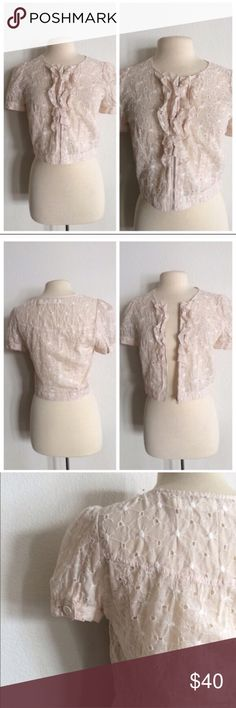 """DOTL cropped jacket Daughters of the Liberation cropped jacket. Size S. Measures 18.5"""" long with a 36"""" bust. Zipper closure. Lightweight. This has no stretch to it. Eyelet pattern makes it see through. EUC!! 100% cotton. Color is a very pale pink.  🚫NO TRADES🚫 💲Reasonsble offers accepted💲 💰Ask about bundle discounts💰 Anthropologie Jackets & Coats"""