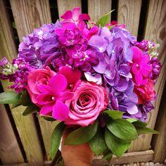 Purple hydrangeas, roses, orchids! @flowersbystem