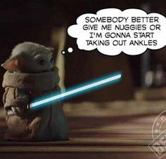Baby Yoda needs nuggies - Motherhood & Child Photos Yoda Funny, Yoda Meme, Stupid Funny Memes, Funny Relatable Memes, Funny Stuff, Crazy Funny, Funny Shit, Image Hilarante, Yoda Images