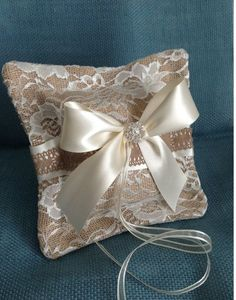 Burlap and Lace Chic Weddings | Rustic Chic Ring Bearer Pillow/ Burlap and Lace Wedding Decor/ Country ...