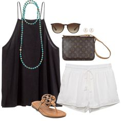 Untitled #251 by keswenson on Polyvore featuring H&M, Tory Burch, Louis Vuitton, Bettina Duncan, Henri Bendel and Ray-Ban