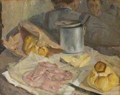 Antonio Tramajoni, Natura morta con pane, formaggio, mortadella, recipiente in metallo e personaggio sullo sfondo, 1950