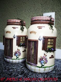 Wine Bottle Art, Plastic Bottle Crafts, Diy Bottle, Wine Bottle Crafts, Mason Jar Crafts, Mason Jar Diy, Decoupage Jars, Clay Fairy House, Polymer Clay Fairy