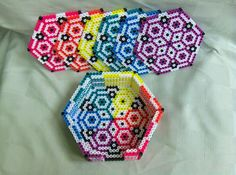 Coasters set with container made out perler beads by Gisele K.- Perler® | Gallery