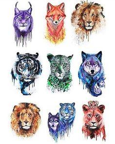 New drawing wolf tribal art Ideas Mythical Creatures Art, Fantasy Creatures, Cute Animal Drawings, Cute Drawings, Watercolor Animals, Watercolor Art, Fox Art, Animal Tattoos, Beautiful Artwork