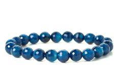 naramok-achat-tmavo-modry-fazetovany-8mm Turquoise Bracelet, Beaded Bracelets, Jewelry, Jewlery, Jewerly, Pearl Bracelets, Schmuck, Jewels, Jewelery