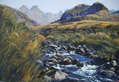 Oil Painting - View at the Cathedral Peak by Ted Hoefsloot African Artwork, Art Portfolio, True Beauty, Art History, Ted, Cathedral, Sculptures, Artists, Fine Art