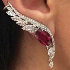 Ruby Earrings Ruby and Diamond Drop Earrings in White Gold Baguette Diamond Earrings Bridal Earrings, Bridal Pearl and Blue Ruby Jewelry, Ear Jewelry, Sapphire Earrings, Diamond Jewelry, Dangle Earrings, Jewellery, Sapphire Pendant, Blue Sapphire, Indian Jewelry