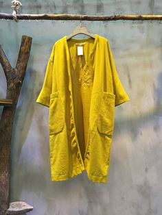 New Arrival Back Embroidery Loose Cardigan Big Pockets Yellow Cardigan  #cardigan #yellow #fashion #coat #overcoat #winter #casual