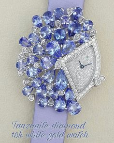 Beautiful tanzanite an diamond like firework. - Watches Topia - Watches: Best Lists, Trends & the Latest Styles Elegant Watches, Stylish Watches, Unique Watches, Luxury Watches, Luxury Jewelry, Modern Jewelry, Unique Jewelry, Amazing Watches, Beautiful Watches
