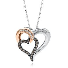 Sparkling Champagne™ 1/4 ct. tw. Champagne & White Diamond Heart-Shaped Pendant in Sterling Silver & 10K Gold