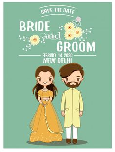 Cute romantic indian couple in traditional dress for wedding invitations card, vector isolated with background Brown Wedding Invitations, Indian Wedding Invitation Cards, Wedding Invitation Card Design, Invitation Ideas, Wedding Card Design Indian, Indian Wedding Cards, Indian Wedding Planning, Bride And Groom Cartoon, Wedding Couple Cartoon