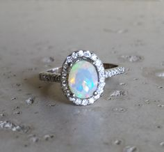 Opal Engagement Ring Natural Opal Ring Promise Ring by Belesas