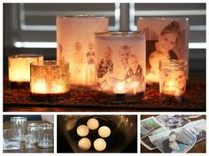 family photo luminary tutorial... would be super cute with engagement pictures and put on the tables during the reception