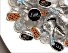 Personalized candy stickers for a basketball or sports themed Bar Mitzvah