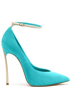 Casadei heels in teal with ankle strap in gold and gold heel. Gorgeous!