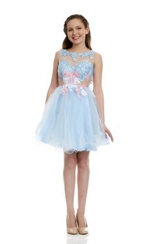 Riva Designs - Sheer Textured Lace Dress #BatMitzvah #ShopCharlottesCloset