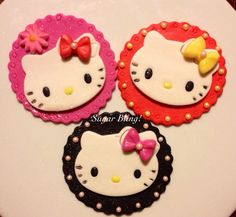 Hello Kitty cupcake toppers. on Etsy, $24.99 Hello Kitty Cupcakes, Girl Parties, Kitty Kitty, Cupcake Toppers, Fondant, Bling, Sugar, Unique Jewelry, Sweet