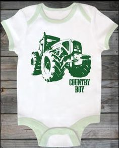 Country Boy Tractor Onesie - Classy Country