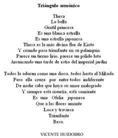 """""""Japonería"""" (1912), también conocido como """"Triángulo armónico"""", poema de Vicente Huidobro. #Poesiavisual"""