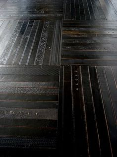 ting london: modular floor tiles: recycled belts......yes old leather belts...like the ones to keep your pants up! Love it!!