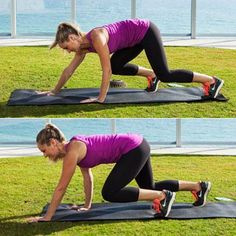 The forwards and backwards motion of this crawling move will work your abs like crazy, along with your shoulders, legs, and butt.
