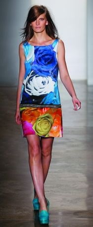 Color block your flowers! A touch of black and white at the waist is all you need.  Peter Som Spring 2012 #flowers #fashion