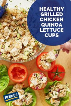 This recipe from PERDUE® Chicken is tasty & easy to make. Diced Chicken, Grilled Chicken, Chicken Quinoa Salad, Lettuce Cups, New Flavour, Healthy Alternatives, Grilling, Tasty, Stuffed Peppers